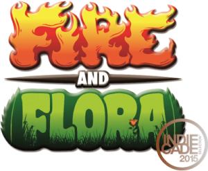 The Fire and Flora logo, with IndieCade Official Selection badge. Go us!