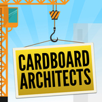"The Cardboard Architects logo: a construction crane holding a yellow sign that reads ""Cardboard Architects""."