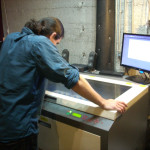 Al, supervising the laser cutter.